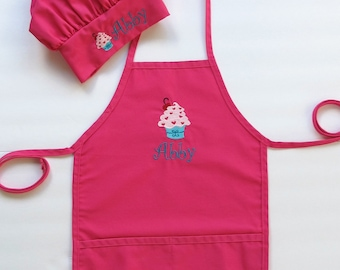 Personalized Apron AND Chef Hat for Kids - Childrens Personalized Apron and Chef Hat - Cupcake