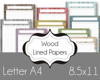 A4 Wood Journaling Paper Printable Planner Pages Charts Lined Paper Happy Planner Letter Size