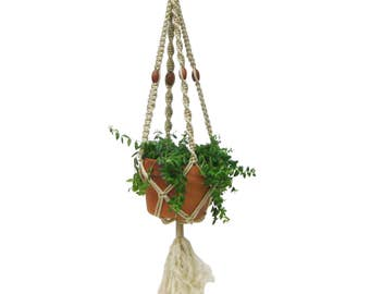 Vintage Handmade 1970s Bohemian Boho Beaded Off White Cream Tan Macrame  Plant Hanger, Indoor Plant