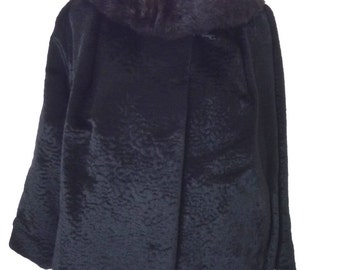 Vintage 60's 70's Black Faux Persian Lamb Swing Coat with Fur Collar Size Large