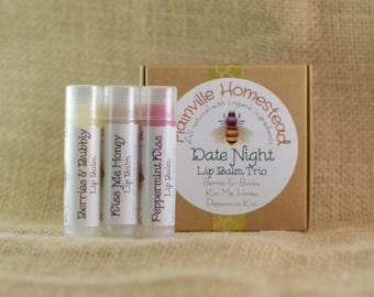 Organic Lip Balm Set || Date Night Lip Balm Trio || Organic Lip Balm || Lip Balm Set || Christmas || Stocking Stuffer