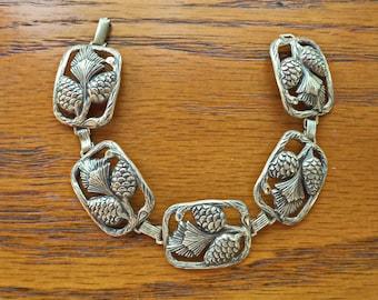 Vintage Wide Sterling Silver Pine Cones Needles Panel Link Bracelet Signed Sterling
