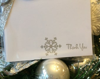 Snowflake Stamped Set of 8 Thank You Note Cards