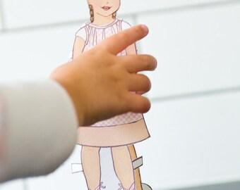 Custom Paper Doll A La Carte - PDF - One Printable Custom Paper Doll with One outfit Clip Art, Paper Craft, Paper Doll Clip Art, Paperdoll