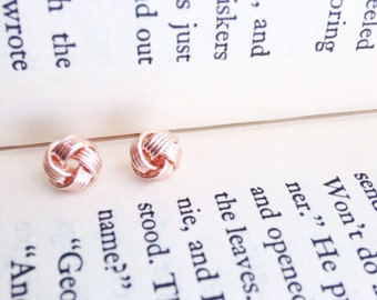 Rose Gold Knot Post Earrings.  Rose Gold Plated.