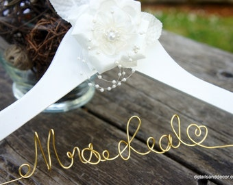 Gold & White Hanger For Her Wedding Dress With Rose And Pearls, Elegant Engagement Gift New Bride