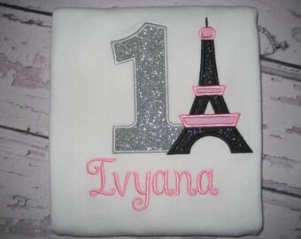 Baby Girl Paris Birthday Eiffel tower bodysuit, pink and black, Paris shirt