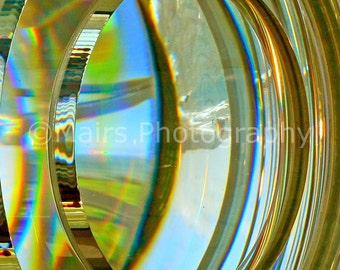 Lighthouse Fresnel Lens Abstract Glass Lime Gold Blue Green Patterns Circles, Fine Art Photography matted & signed 5x7 Original Photograph