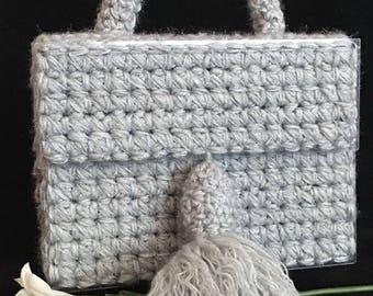 Evening bag, clutch, organic glass bag, crochet bag, knitted bag, woman bag