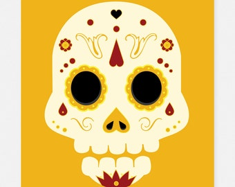 Day of the Dead Sugar Skull: Yellow Pirate 5x7 Art Print by Odds And Aliens