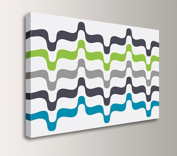 "Mid Century Canvas Art - Retro Canvas Print - Grey Lime Aqua - Oversized Loft Art - Modern Wall Decor - "" Undulation"""