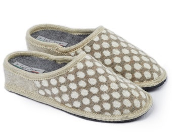 Wool slipper in Polka dots 100% Made in Italy with internal insole, raised 3 cm