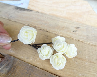 Ivory  Rose Wedding Hair Pins, Ivory Bridal Hair Pins, Flower Girl Hair Accessories, Bridesmaid Hair, Rustic Wedding, Woodland - Set of 6