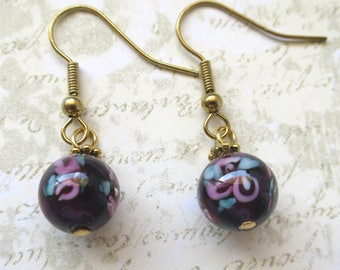 Purple earrings round czech glass beads with satin finish and rose inlay