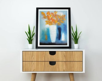 """oil on canvas 16x20"""", also giclee canvas prints and fine art paper print, turquoise orange still life, modern still life white vase floral"""