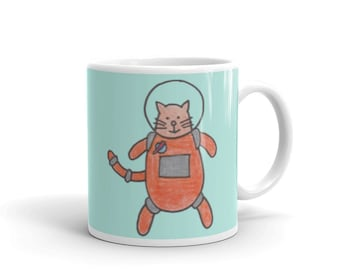 Cat Mug - Cat Gift - Cat Astronaut - Cat Lady Gift - Cat Lover Gift - Funny Cat Mug - Funny Cat Gifts - Cat in Space