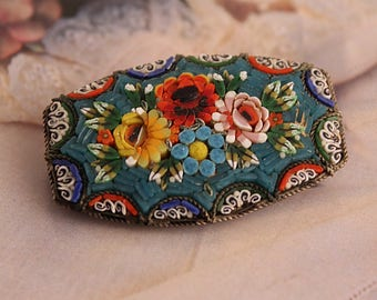 Mosaic Brooch Made in Italy, Vintage Multicolor Floral Micromosaic Pin, Large Size
