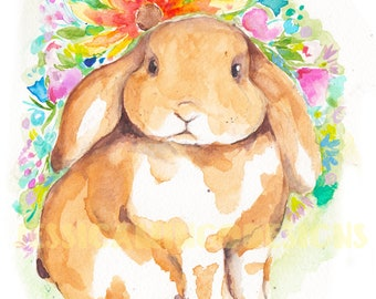 Easter bunny art etsy lop eared bunny easter bunny easter easter rabbit art easter bunny art negle Gallery