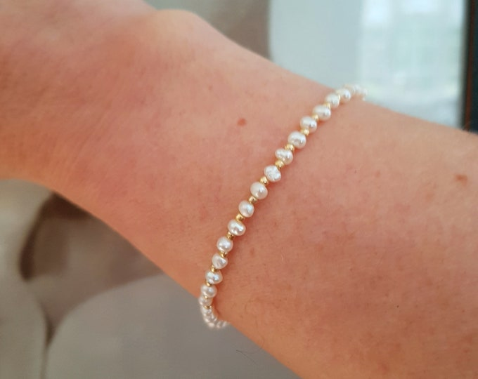 Freshwater seed Pearl bracelet 18K Gold Fill or Sterling Silver tiny small white pearl bracelet June Birthstone jewelry real pearl jewellery