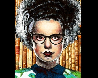 """Print 11x14"""" - The Librarian - Bride of Frankenstein Classic Monsters Glasses Books Library Vintage Gothic Dracula Nerd Pin Up Pop Art Bats"""