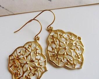 Gold Moroccan Earrings, Filigree Design, Bohemian, Tribal, Everyday Gold earrings, Oriental Design, Modern, Redpeonycreations