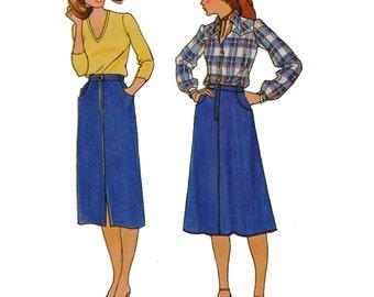 1970s A-line skirt Pattern - Size 10 Waist 25 - Butterick 6626  Kawaii Straight Skirt Below mid knee Vintage Patterns