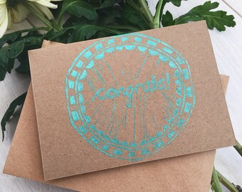 Congratulations congrats linoprint lino cut card. Graduation,  special occasions well done. Circle scallop pattern.  Free UK postage.