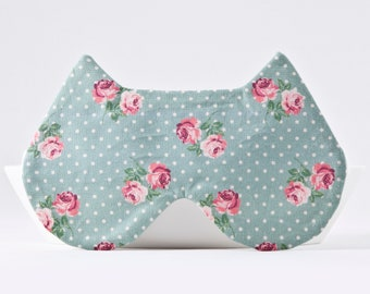 Mint Sleep Mask, Cat Lover Gift, Mint Bridesmaid Gift, Dotted Sleep Mask, Girlfriend Gift, Cat Eye Pillow, Cat Sleep Mask, Provence Eye Mask