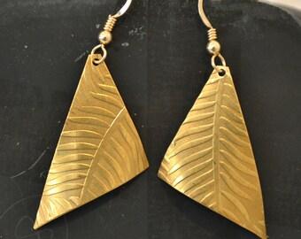 Fern earrings.  embossed  brass earrings.   handmade solid brass