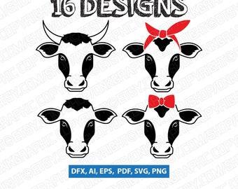 Cow Farm   Cow Bandana   Cow Sunglasses   Cow Face   SVG Vector Silhouette Card Cameo Cricut Cut File Clipart Dxf Png Eps