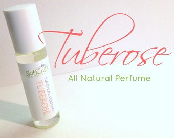 Tuberose Perfume Oil - Natural Roll On Perfume Oil -  Organic Fragrance Perfume  - Vegan Perfume - Tuberose Fragrance .3 oz Glass Roll On