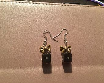 Earrings, dangle, brown gift box with gold bow on sterling silver hooks.