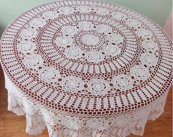 "Hand crochet 63"" Round tablecloth, totally handmade round table topper, lace table cover for home decor"