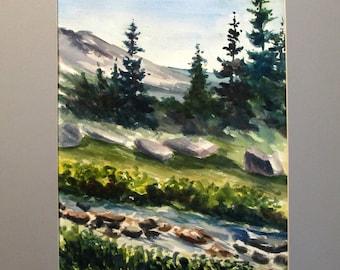 "Watercolour.  Boulder Colorado.  Mountain Art.  Cabin Decor. ""Distant Trials"" Matted"