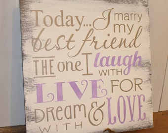 Today I Marry My Best Friend Sign/Wedding Sign/Subway Style/Reception Sign/Romantic Sign/U Choose Colors/Gray/Lavender