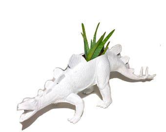 Up-cycled Huge White Stegosaurus Dinosaur Planter