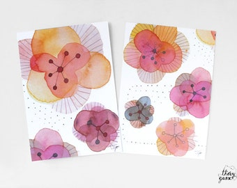 Blooming flower card, Watercolor flower, Cute flowers, Floral, Cute stationery, Stationery gift, Mothers day, Anniversary, Happy birthday