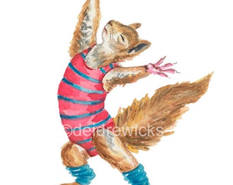 Squirrel Watercolor Painting PRINT - Dance Art, 1980s Inspired, Funny Illustration, Excercise Class, Leg Warmers
