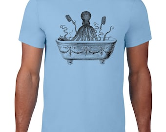 CLEARANCE, Octopus Tee, Funny T Shirt, Octopus Tshirt, Taking A Bath, Ocean Animal Tshirt,  sm-5xl plus size