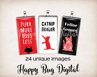 "All About Cats Graphics Digital Collage Sheet - 1"" x 2"" Domino Tile Size for Pendants INSTANT DOWNLOAD"