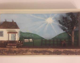 Rustic Serbian village household diorama