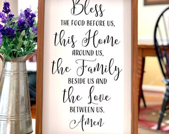 Bless the Food Before Us Sign - Dining Room Decor - Farmhouse Decor - Rustic Kitchen Sign - Children's Prayer - Kitchen Decor - Prayer Sign