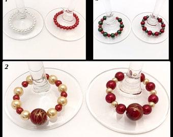 x 2 glass jewelry glass bead Christmas walk