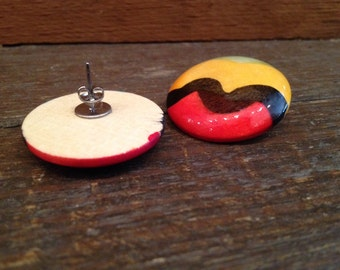 Vintage Retro Round Wooden Painted Earrings
