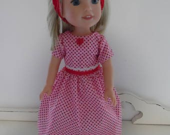 Wellie Wisher Pink Valentine Dress with Headband