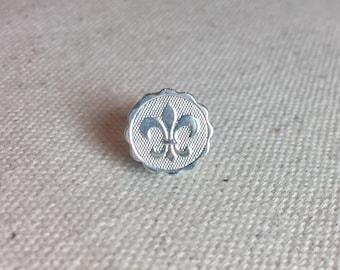 Fleur de Lis Rebirth Mini Medallion Tie Tack and Lapel Pin in Bright Silver