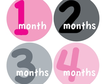 12 Monthly Baby Milestone Waterproof Glossy Stickers - Just Born - Newborn - Weekly stickers available - Design M014-04