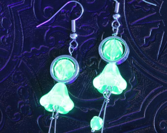 Uranium Vaseline glass flower drop earrings