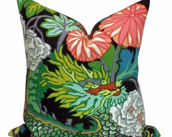 Chiang Mai Dragon pillow cover in Ebony - ON BOTH SIDES