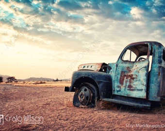 For Him VINTAGE retro CAR PHOTOGRAPHY wall art Cloudy Blue Sky Classic old cars Rustic Landscape wall decor MuddpuppieDesigns ford turquoise